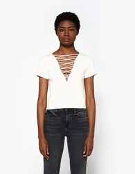 Alexander Wang Cashmere Lace Up Top Almond