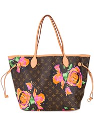 Louis Vuitton Vintage Floral Print Tote Women Leather One Size Brown