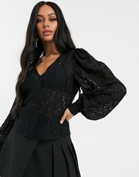 Na Kd Puff Sleeves Lace Blouse In Black