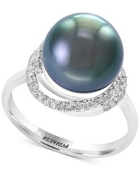 Effy Pearl Lace By Cultured Black Tahitian Pearl 11Mm And Diamond 1 4 Ct. T.W. Ring In 14K White Gold