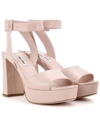 Miu Miu Patent Leather Platform Sandals Neutrals