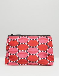Lulu Guinness Stripe Lip Make Up Bag Red Pink Multi