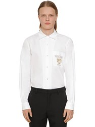 Moschino Logo Cotton Poplin Shirt White