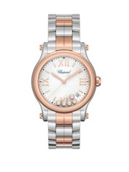 Chopard Happy Sport Diamond 18K Rose Gold And Stainless Steel Bracelet Watch Silver Rose Gold