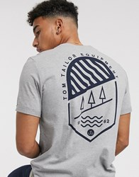 Tom Tailor T Shirt With Back Print In Grey