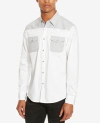 Kenneth Cole Reaction Men's Colorblocked Long Sleeve Shirt White