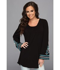 Scully Jacalyn Scoop Neck Tunic Bell Sleeve W Embroidery Black Women's Long Sleeve Pullover
