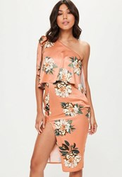Missguided Orange Floral Print One Shoulder Bow Midi Dress Multi