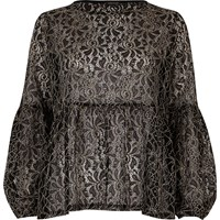 River Island Womens Black And White Lace Tiered Smock Top