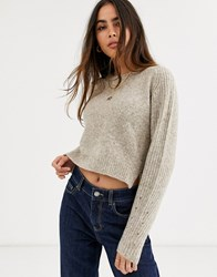River Island Cropped Sweater In Oatmeal Beige