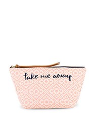 Deux Lux Madera Printed And Embroidered Pouch Coral