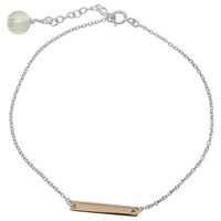Martick Bar And Murano Bead Chain Bracelet Silver Rose Gold