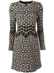 Azzedine Alaia Geometric Jacquard Dress Black