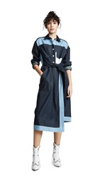 Colovos Belted Two Tone Shirtdress Dark Blue Light Blue