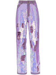 Ashish X Browns Distressed Sequin Jeans Purple