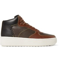 Coach Patchwork C210 Leather High Top Sneakers Brown
