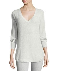Joan Vass V Neck Lurex Sweater Plus Size Silver
