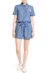 Paul And Joe Sister Women's Cat Embroidered Chambray Romper