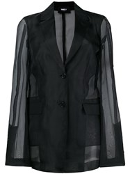 Yang Li Sheer Sleeves Blazer Black