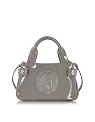 Armani Jeans Signature Mini Patent Leather Tote Bag Taupe