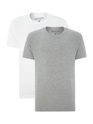 Howick Two Pack Plain Nightwear T Shirts Short Sleeved Grey