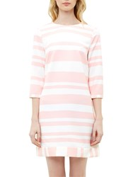 Ted Baker Colour By Numbers Jangle Two Tone Stripe Tunic Dress Pale Pink