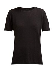 Joseph Cashair Rolled Edge Cashmere Jersey T Shirt Black