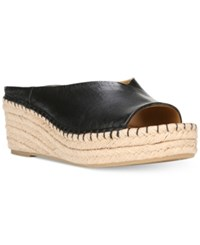 Franco Sarto Pine Slip On Espadrille Wedge Mules Women's Shoes Black Leather