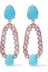 Bounkit Gold Tone Stone And Crystal Earrings Turquoise