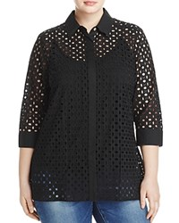 Foxcroft Plus Gigi Three Quarter Sleeve Eyelet Tunic Black