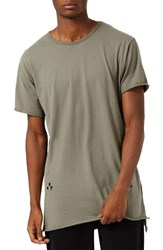 Topman Men's Distressed Longline T Shirt Olive