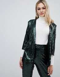 Outrageous Fortune Sequin Tuxedo Blazer Co Ord In Emerald Green Emerald Green