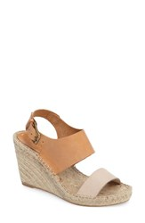 Soludos Women's Espadrille Wedge Sandal Nude Ivory Leather