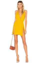 Indah Harlem Layered Mini Dress Yellow