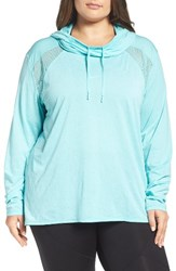 Zella Plus Size Women's Adventure Hooded Pullover Teal Sky