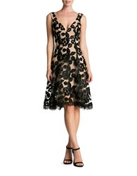 Dress The Population Maya V Neck Lace Fit And Flare Nude Black