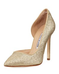 Manolo Blahnik Collina Glitter 105Mm Pump Gold