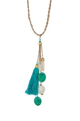 Jute Cord Detailed Tassel Turquoise And White Stone Drop Pendant Necklace Blue