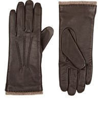 Barneys New York Women's Leather Touchscreen Compatible Gloves Brown