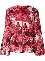 Moncler Gamme Rouge Floral Print Zip Jacket Red