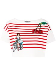 Dolce And Gabbana Striped Embroidered Cropped Top Women Cotton Polyamide 38 White