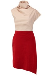 Carven Two Tone Cotton Blend Shell And Cotton Corduroy Dress Red