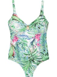 Lygia And Nanny Open Back Printed Swimsuit Green