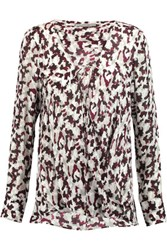 Derek Lam 10 Crosby By Printed Silk Crepe Blouse Burgundy