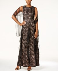Alex Evenings Sequined Lace Ruffle Gown And Shawl Black Nude