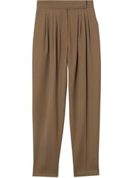 Burberry Pleat Detail Wool Twill Tailored Trousers Brown