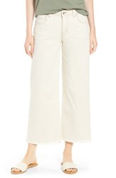 Eileen Fisher Frayed Wide Leg Ankle Jeans Undyed Natural