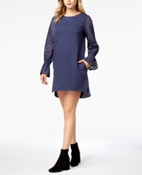 Kensie Lace Contrast Sweater Dress Heather Navy
