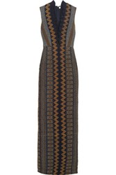 Tory Burch Smocked Crepe De Chine Gown Navy