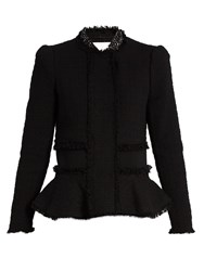 Rebecca Taylor Peplum Tweed Jacket Black